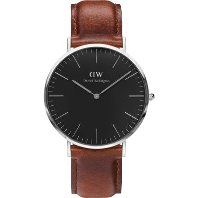 Daniel Wellington Classic Black St Mawes Watch 40mm Unisexuhr in Braun DW00100130