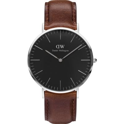 Daniel Wellington Classic Black Bristol Watch 40mm Unisexuhr in Braun DW00100131