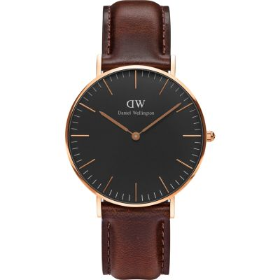 Daniel Wellington Classic Black Bristol Watch 36mm Unisexuhr in Braun DW00100137