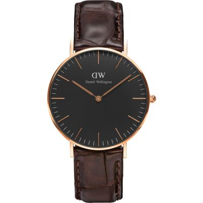 Daniel Wellington Classic Black York Watch 36mm Unisexuhr in Braun DW00100140