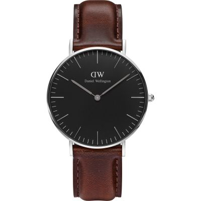 Daniel Wellington Classic Black Bristol Watch 36mm Unisexuhr in Braun DW00100143