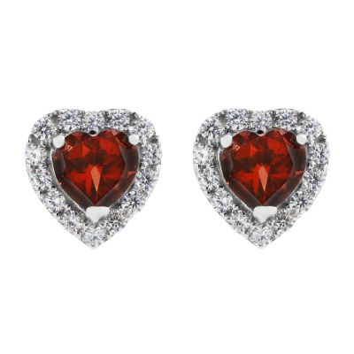 Ladies Gemstone Sterling Silver Garnet and Cubic Zirconia Heart Stud Earrings G0047E-GA