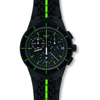Swatch Originals Chrono Laser Track Herrenchronograph in Schwarz SUSB409