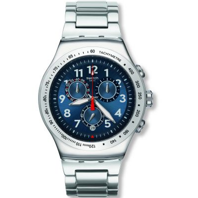 Mens Swatch Blue Maximus Chronograph Watch YOS455G