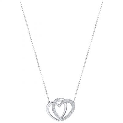 Ladies Swarovski Rhodium Plated Dear Double Heart Necklace 5345475