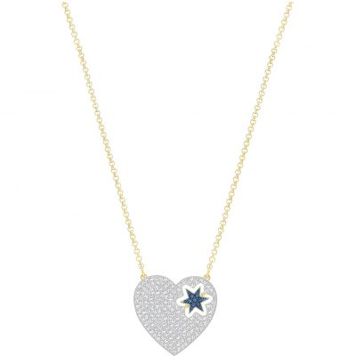 Ladies Swarovski Gold Plated Great Heart And Star Necklace 5273328
