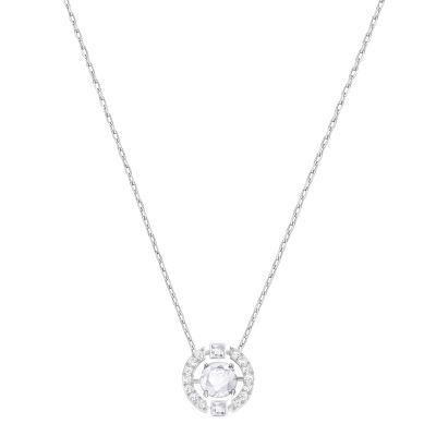 Ladies Swarovski Rhodium Plated Sparkling Necklace 5286137