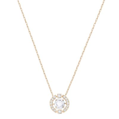 Ladies Swarovski Rose Gold Plated Sparkling Necklace 5272364