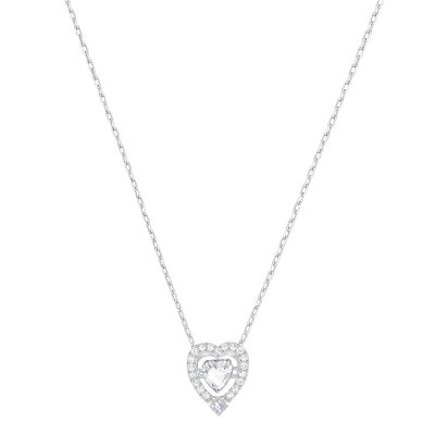 Ladies Swarovski Rhodium Plated Sparkling Heart Necklace 5272365