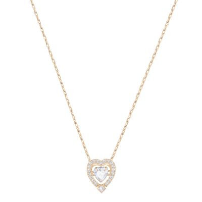 Ladies Swarovski Rose Gold Plated Sparkling Heart Necklace 5284188