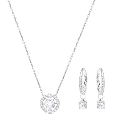 Ladies Swarovski Rhodium Plated Sparkling Dance Necklace and Earring Set 5279018