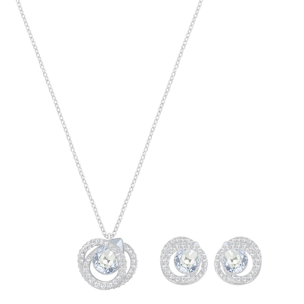 Swarovski Generation Set, Blue, Rhodium plating