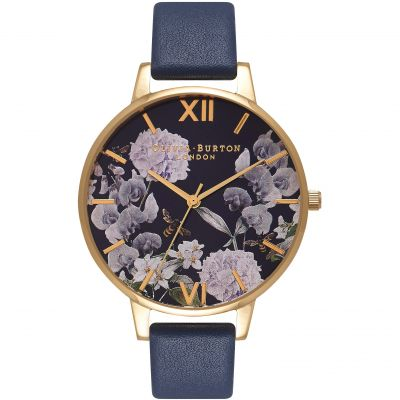 Enchanted Garden Bee Blooms Midnight Dial & Gold Watch