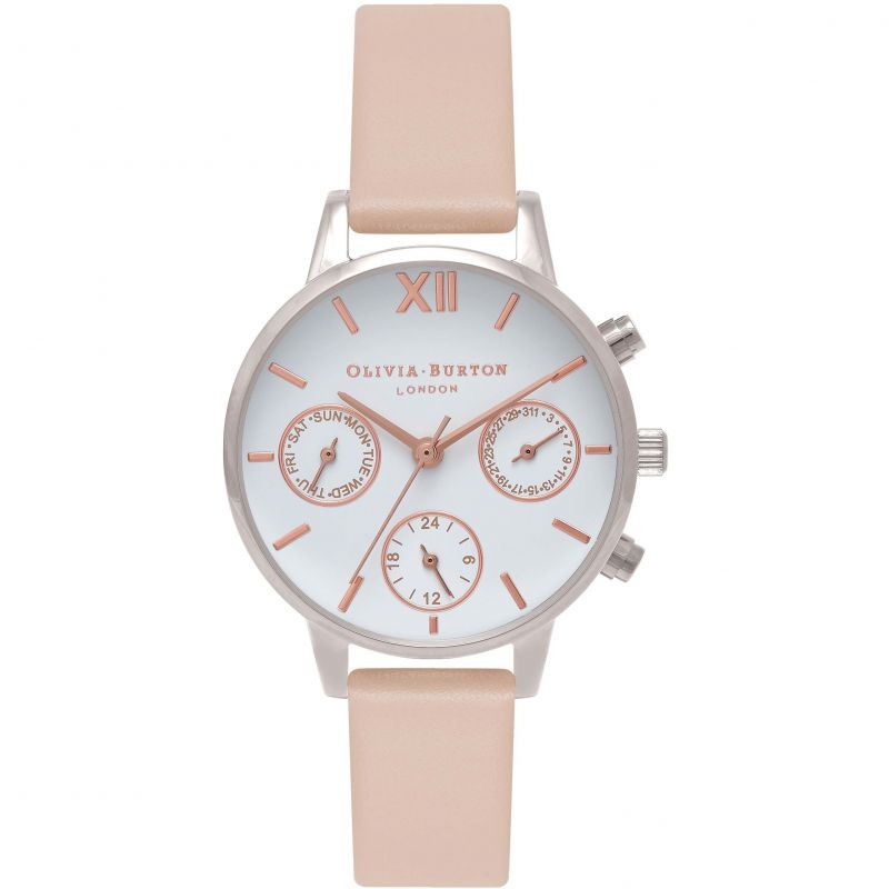 Chrono Detail Silver & Nude Peach Watch