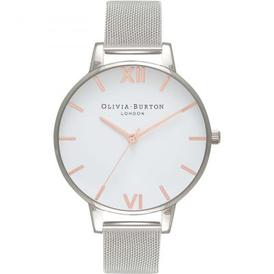 White Dial Big Dial Rose Gold & Silver Mesh Watch