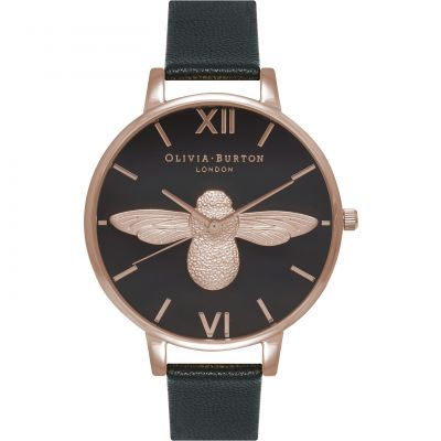 Montre Femme Olivia Burton Moulded Bee Rose Gold & Black OB16AM98