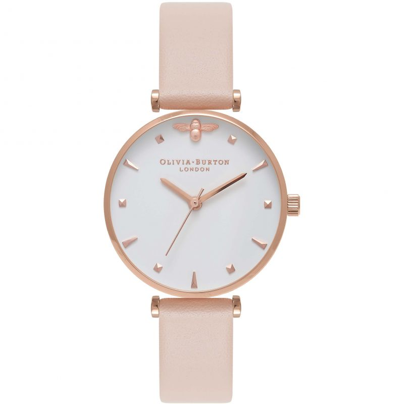 Queen Bee Nude Peach & Rose Gold T-Bar Watch