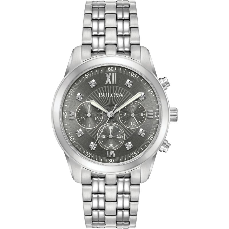 Mens Bulova Dress Chronograph Diamond Watch