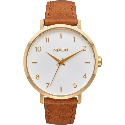 Nixon The Arrow Leather Damenuhr in Braun A1091-2621