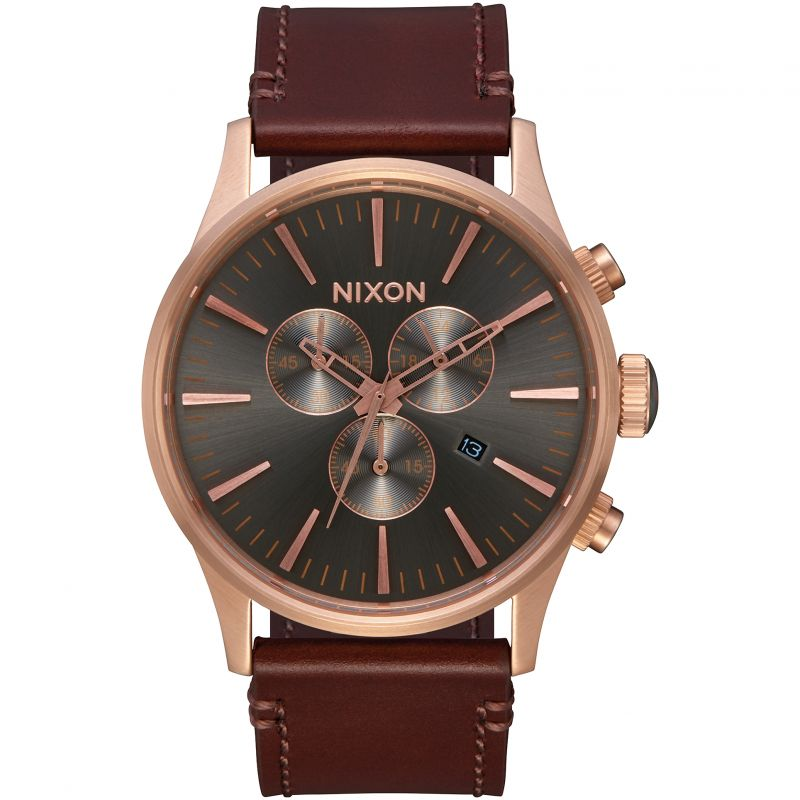Mens Nixon The Sentry Chrono Leather Chronograph Watch A405-2001
