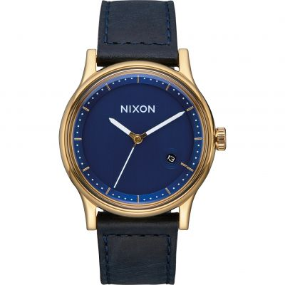 Nixon The Station Leather Herrklocka Blå A1161-933