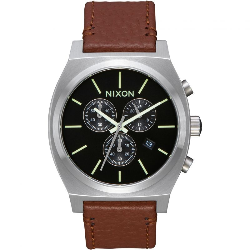 Mens Nixon The Time Teller Chrono Leather Chronograph Watch