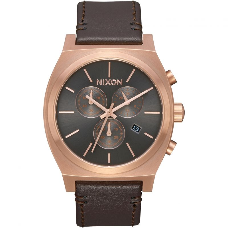 Mens Nixon The Time Teller Chrono Leather Chronograph Watch A1164-2001