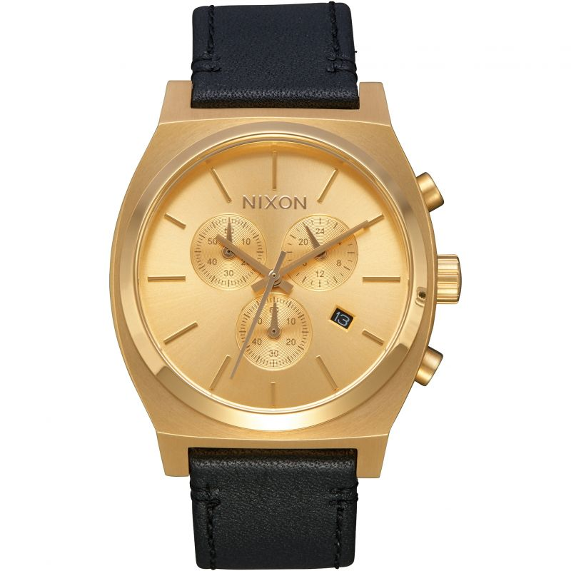 Mens Nixon The Time Teller Chrono Leather Chronograph Watch A1164-510