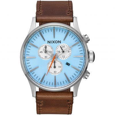 Mens Nixon The Sentry Chrono Leather Chronograph Watch A405-2547