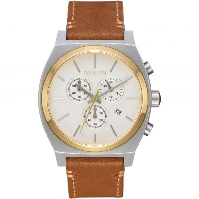 Mens Nixon The Time Teller Chrono Leather Chronograph Watch A1164-2548