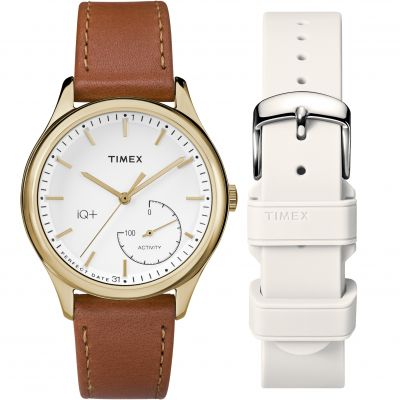 Timex IQ+ IQ+ Move Activity Tracker Bluetooth Hybrid Smartwatch Damenuhr in Braun TWG013600