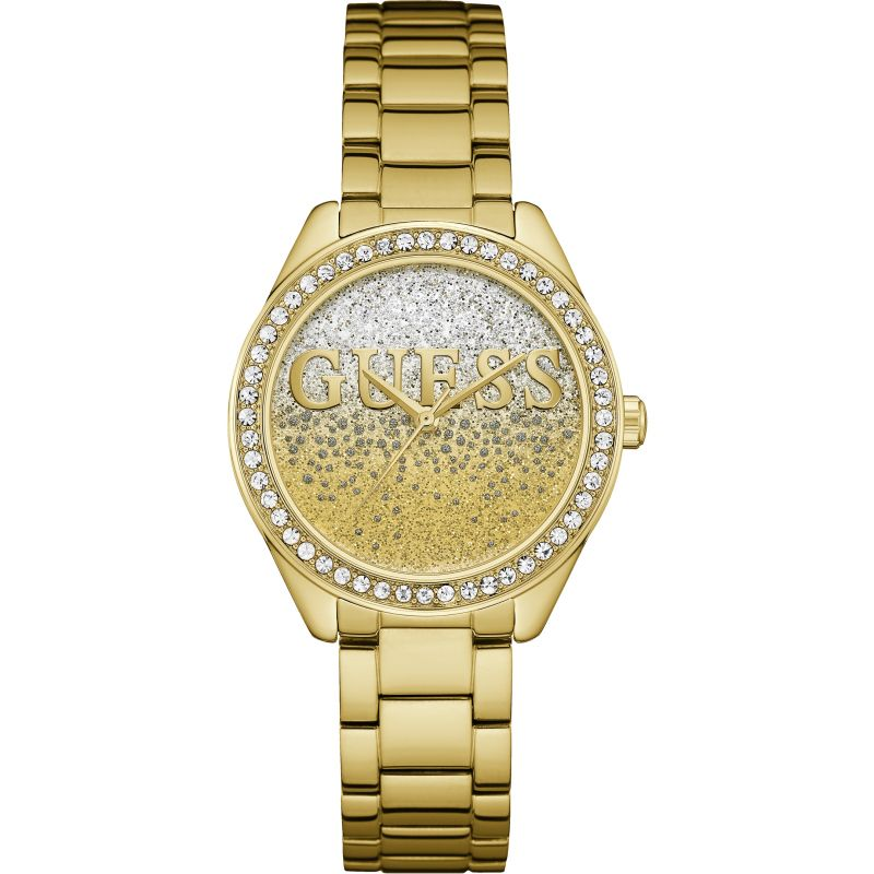 GUESS Ladies gold watch with silver and white glitter logo dial.