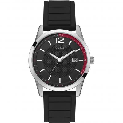 GUESS Gents silver watch with black date dial and black silicone strap.