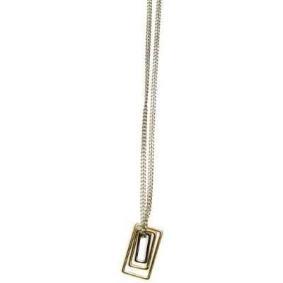 Mens Icon Brand Two-tone steel/gold plate Mercer Necklace P1149-N-SIL