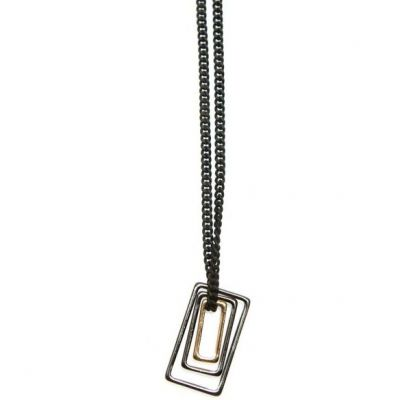 Mens Icon Brand Base metal Mercer Necklace P1149-N-BLK