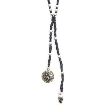 Mens Icon Brand Two-tone steel/gold plate Saint Saviour Rosary Necklace LE1175-N-BLK