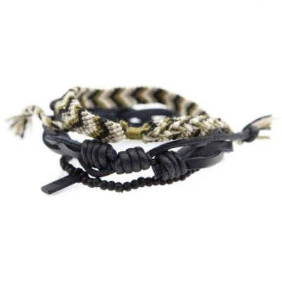 Mens Icon Brand Base metal Outbound Combo Bracelets B1157-BR-COM-KHA