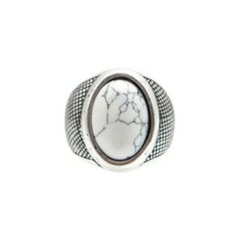 Mens Icon Brand Silver Plated Basalt Ring Size Large P1197-R-SIL-LGE