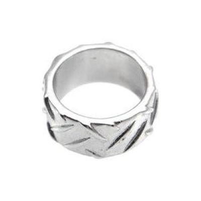 Mens Icon Brand Silver Plated Grip Step Ring Size Medium P1188-R-SIL-MED