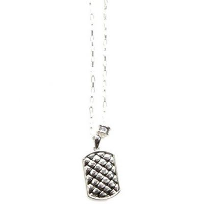 Icon Brand Herr Strip Weave Necklace Silverpläterad P1199-N-SIL