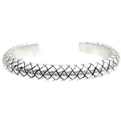 Mens Icon Brand Silver Plated Strip Weave Bangle P1200-BR-SIL