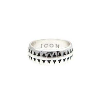 Mens Icon Brand Silver Plated Hound Tooth Ring Size Medium P1209-R-SIL-MED