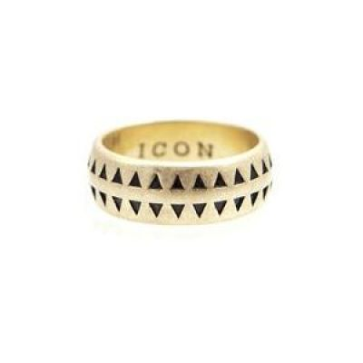 Mens Icon Brand Gold Plated Hound Tooth Ring Size Medium P1209-R-BRA-LGE