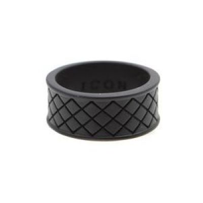 Biżuteria męska Icon Brand Jewellery Strip Weave Ring Size Medium P1202-R-BLK-LGE