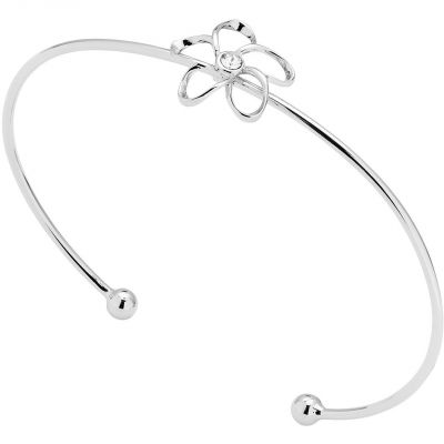 Mens Ted Baker Silver Plated Crystal Blossom Ultrafine Bangle TBJ1428-01-02