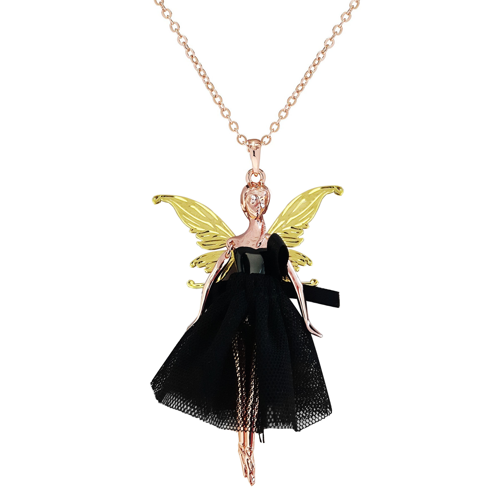 tinkerbell wings princess fairy pendant amazon angel jewelry necklace dp pink for girls women com crystal