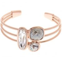Ladies Karen Millen Rose Gold Plated Milano Stone Cluster Bangle KMJ960-24-38