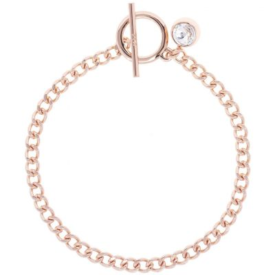 Ladies Karen Millen Rose Gold Plated Quantum Crystal T Bar Bracelet KMJ1005-24-02