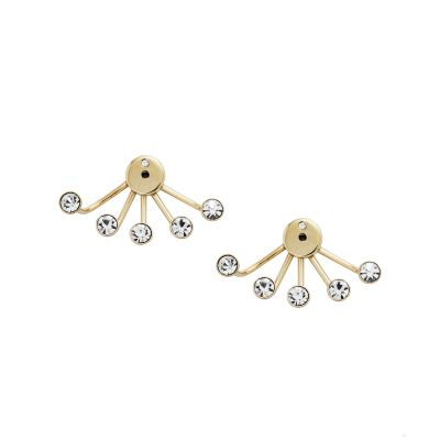 Ladies Fossil Gold Plated Chandelier Ear Jacket Earrings JF02393710