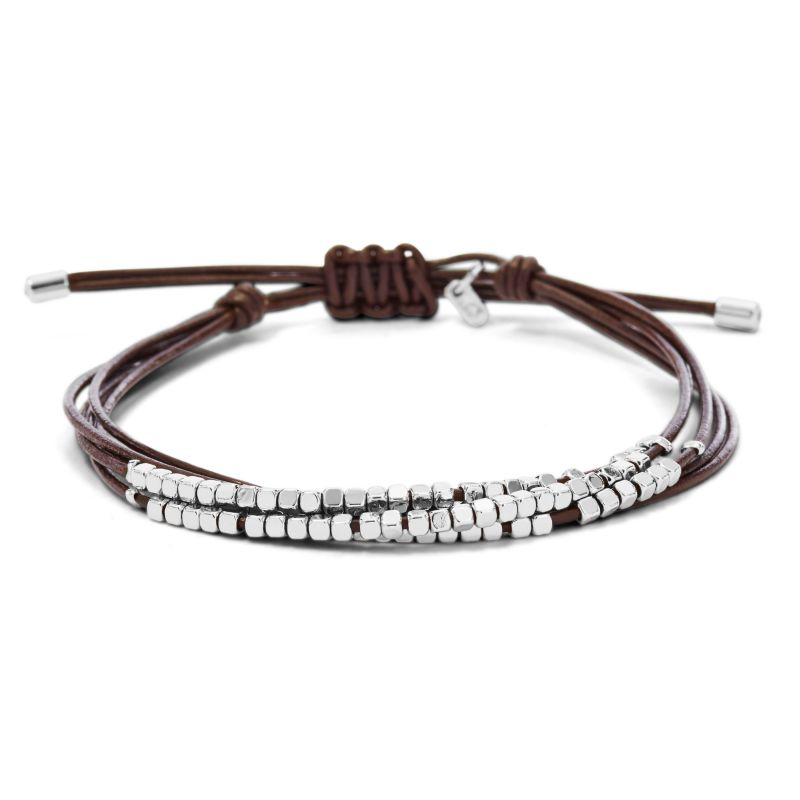 Ladies Fossil Silver Plated Leather Bracelet JA6379040